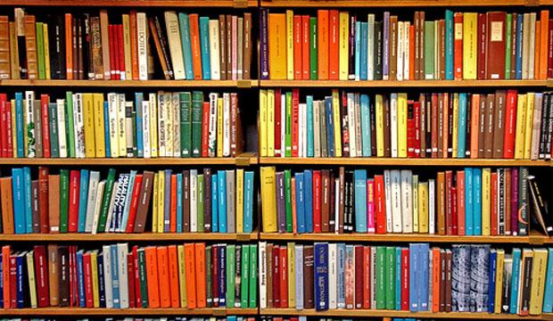 Descripción gráfica: sobre una biblioteca con 4 repisas, de izquierda a derecha, libros de distintos colores uno al lado del otro.